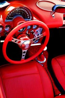 Red Sports Car Interior Steering Wheel