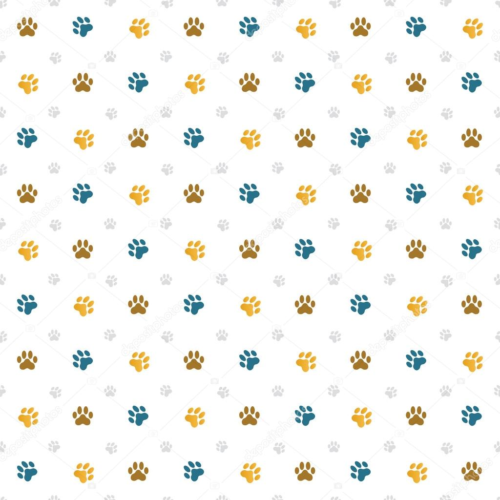 Animal Paw Print Repeat Pattern Vector By Tezzstock