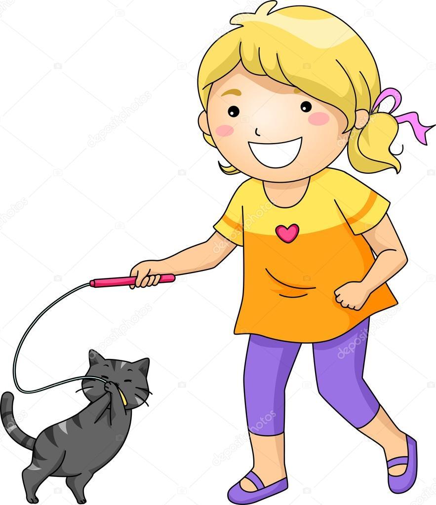 Мальчик играет с котом картинка
