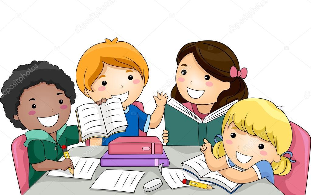 Resultado de imagem para desenho crianças estudando