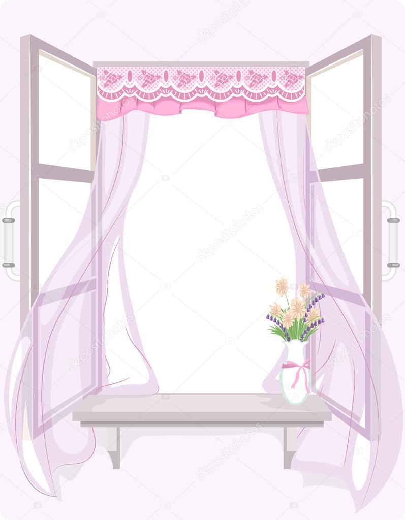 Illustration of a Curtain with a Shabby Chic Design Fluttering in the Wind u2014 Photo by lenmdp  sc 1 st  Depositphotos & Shabby Chic Curtain u2014 Stock Photo © lenmdp #58947851