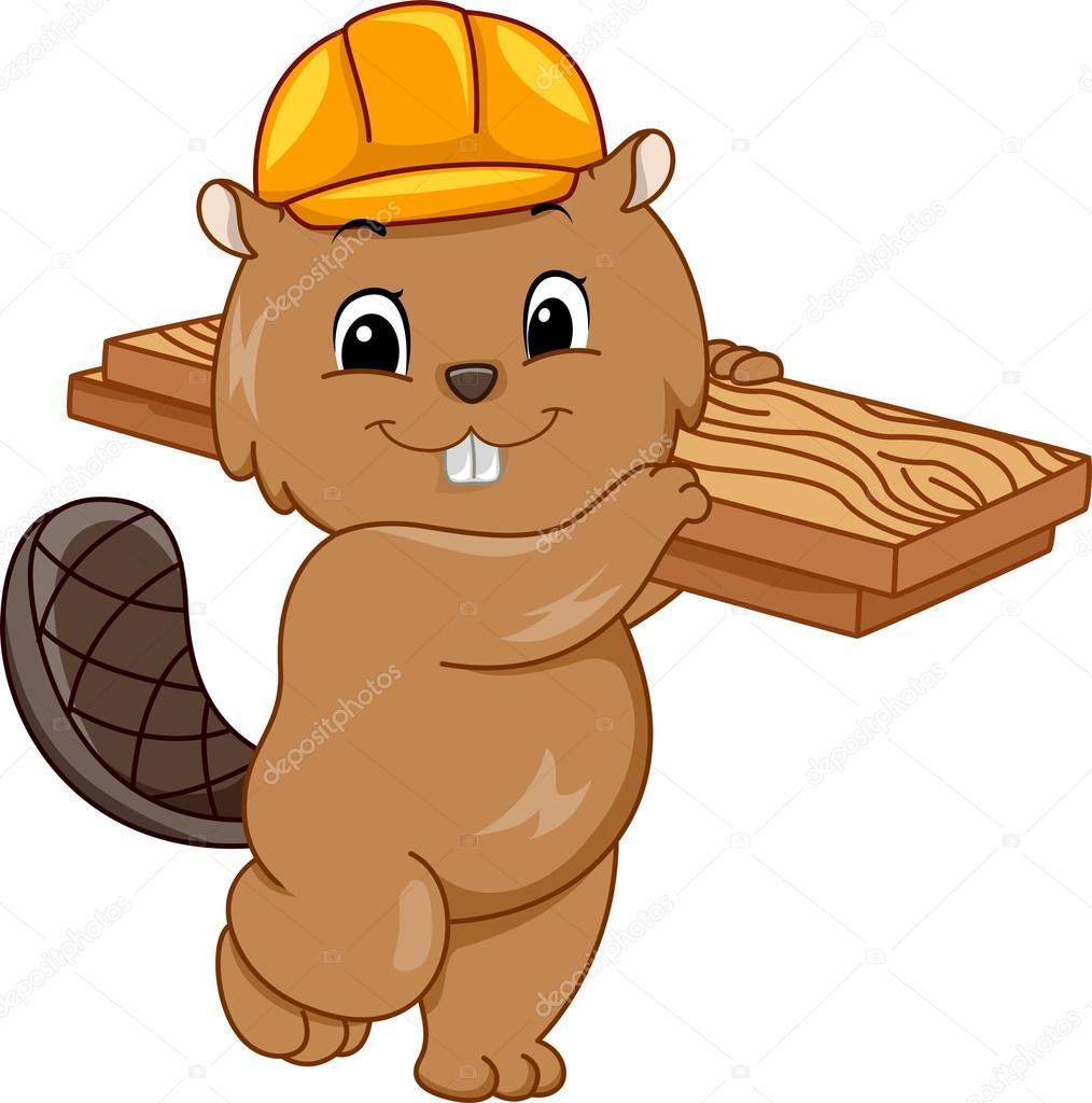 construction beaver in a hard hat u2014 stock photo lenmdp 58949079