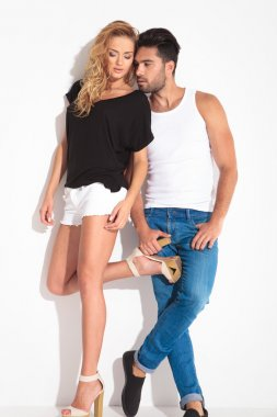Full body picture of a young couple posing
