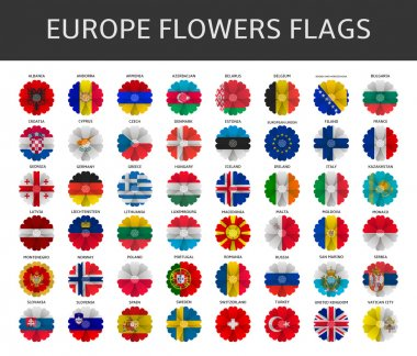 europe flowers flags vector