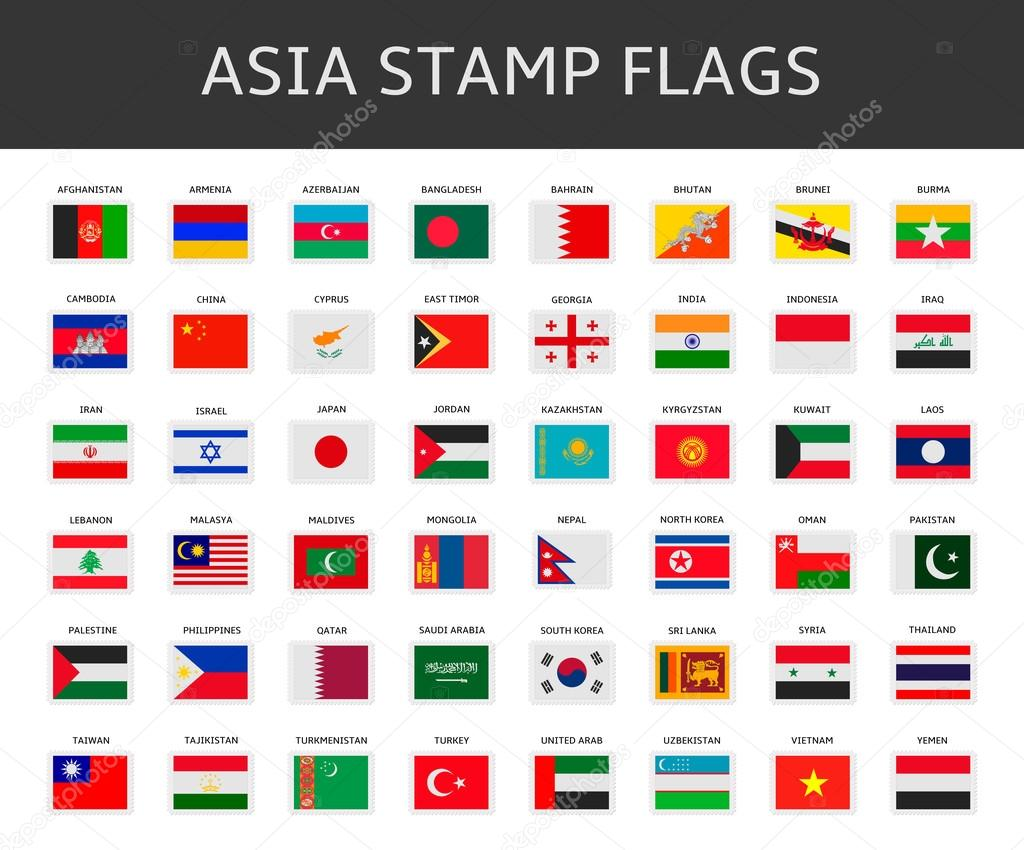 asia stamps flags vector