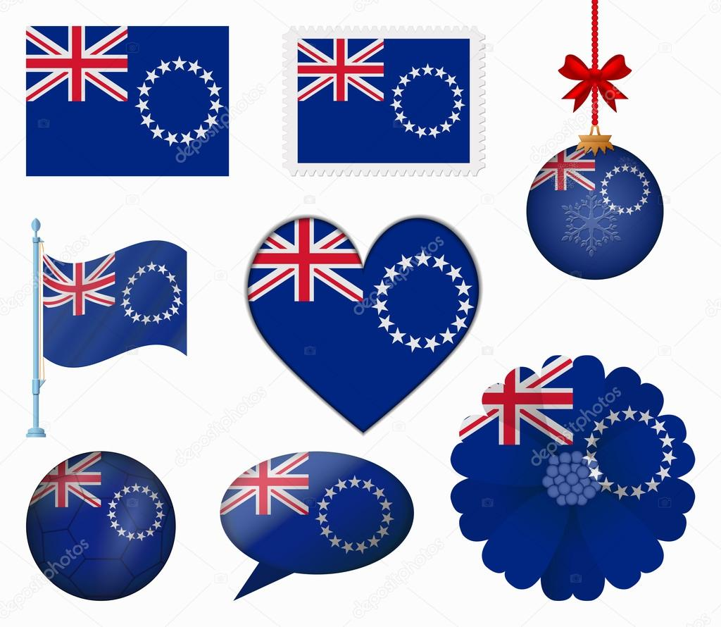 Cook Islands flag set of 8 items vector
