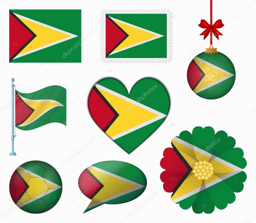 Guyana flag set of 8 items vector