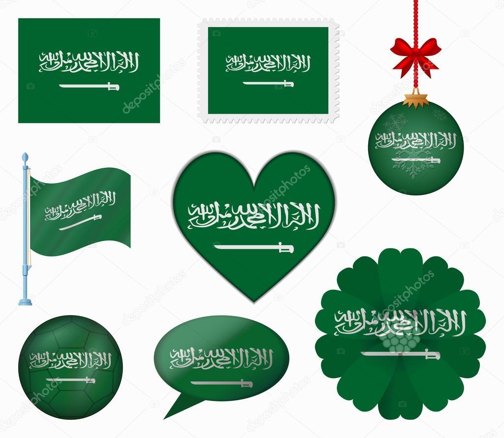 Saudi Arabia flag set of 8 items vector