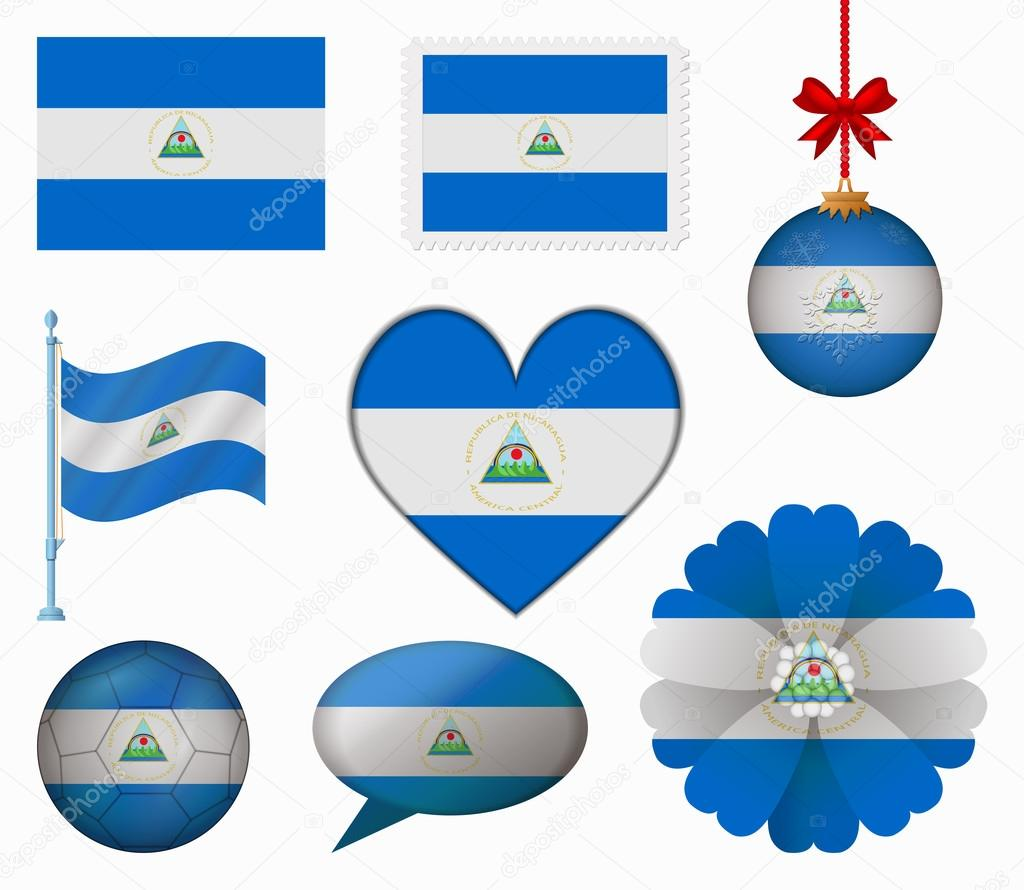 906f036044ed Nicaragua flag set of 8 items vector — Stock Vector © noche0  65605343