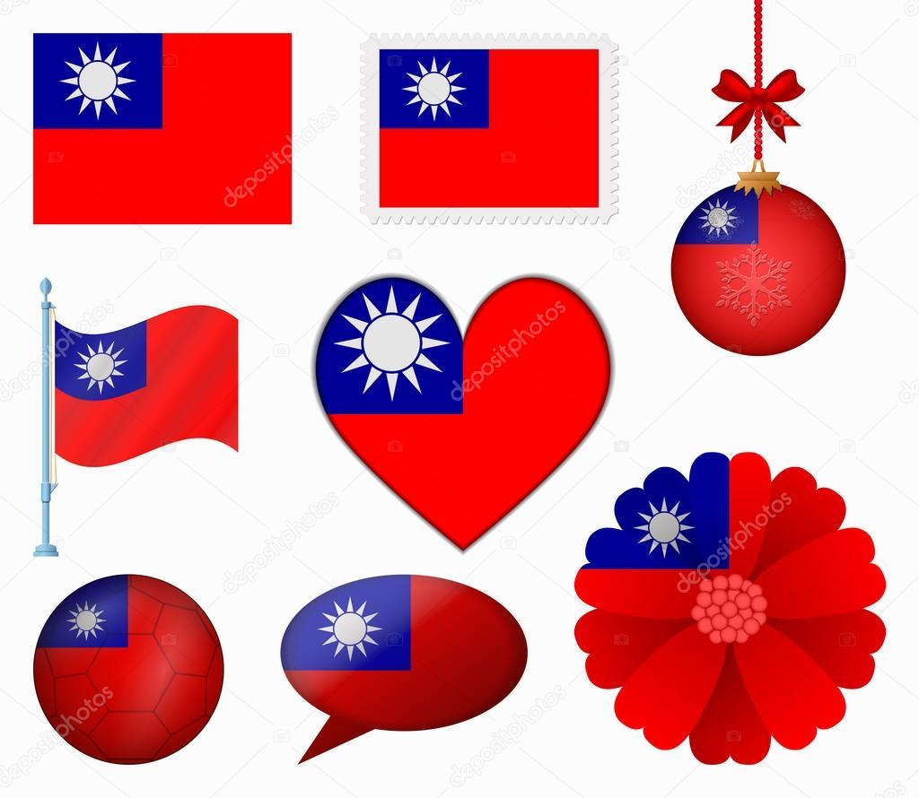 Taiwan flag set of 8 items vector