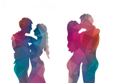 low poly couples dancing