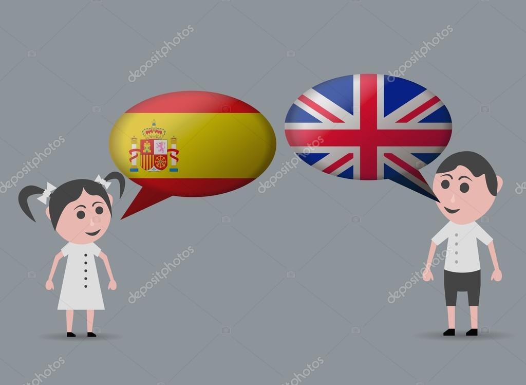 girl speaking spanish and english speaking boy — Stock ...