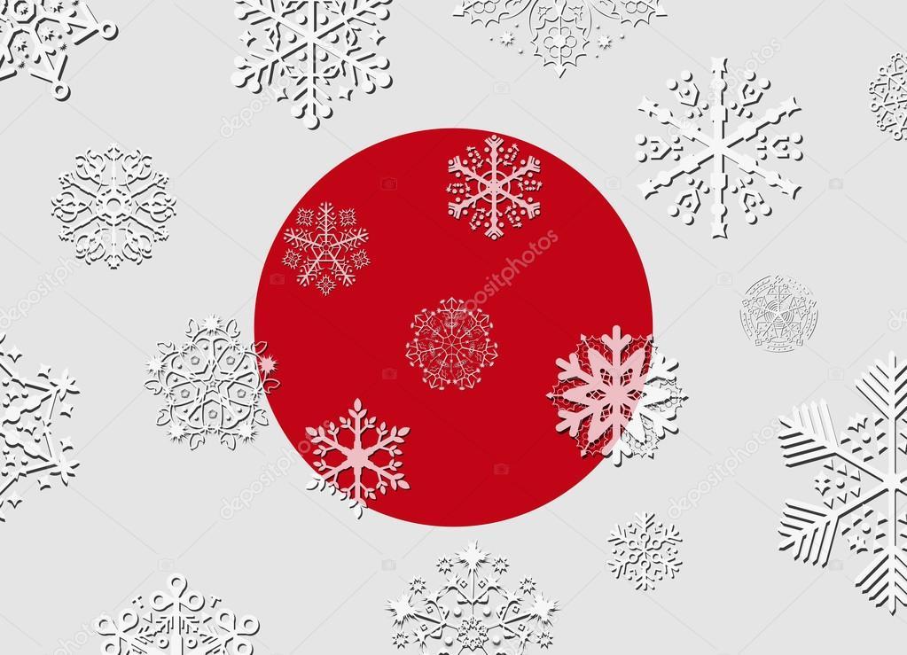Bandierina Del Giappone Con I Fiocchi Di Neve Vettoriali Stock