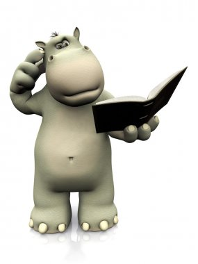 Cartoon hippo reading book and looking confused.