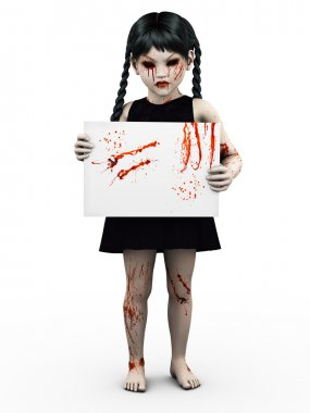 A gothic blood covered small girl holding sign.