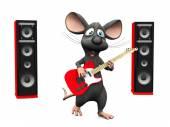 Cartoon Maus singen und Gitarre spielen.