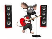 Cartoon Maus singen im Mikrofon und Gitarre spielen.