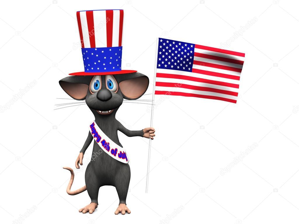 Temmuz kutlamaları gülümseyen karikatür fare veya bağımsızlık da