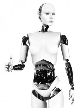 Robot woman doing a thumbs up.