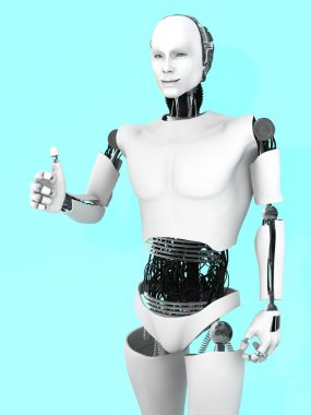 Robot man doing a thumbs up.
