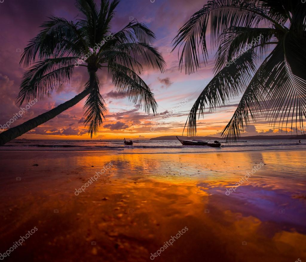 Tropical sunset on the beach. Ao-Nang. Krabi