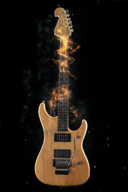 Electric Guitar on fire on Black Background