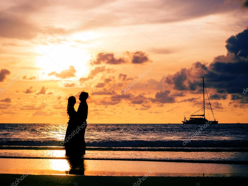 Wedding couple silhouette at sunset