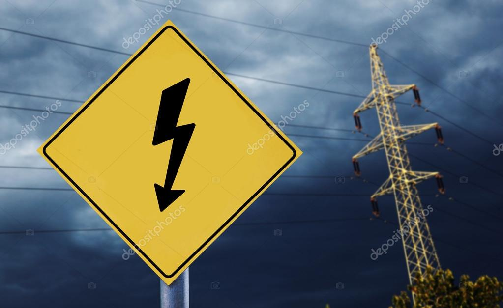 Electric towers with electricity label