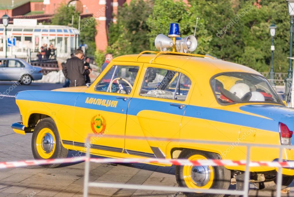 USSR era retro police cars on display