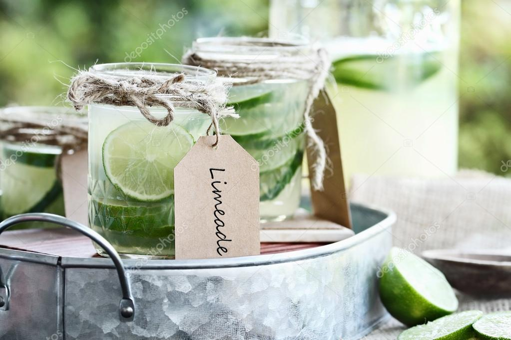 Limeade in Mason Jars