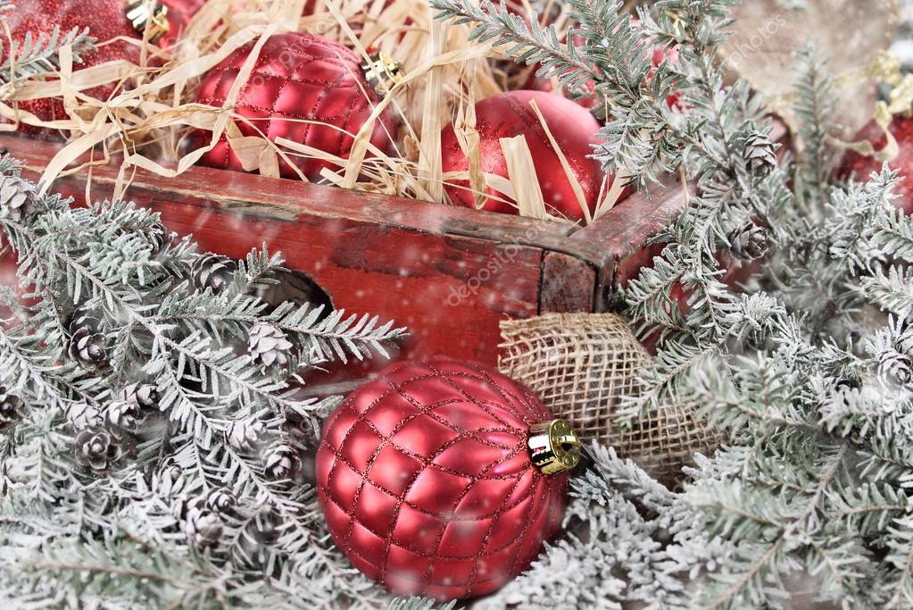 Box Of Red Glass Christmas Ornaments Stock Photo Stephaniefrey