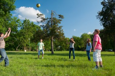 Teenage boys and girls playing with the ball in the park on sunn