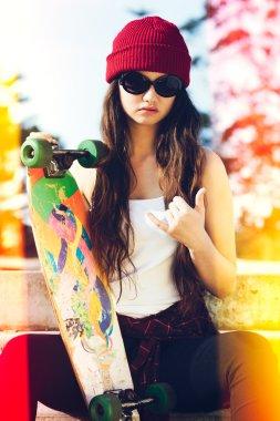 Skater girl with light leaks stock vector