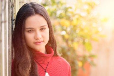 Beautiful teenage girl wearing red sweater stock vector