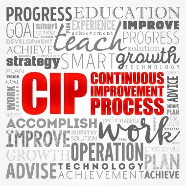 CIP - Continuous Improvement Process word cloud, business concept background