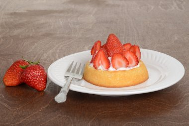 Strawberry shortcake with a fork