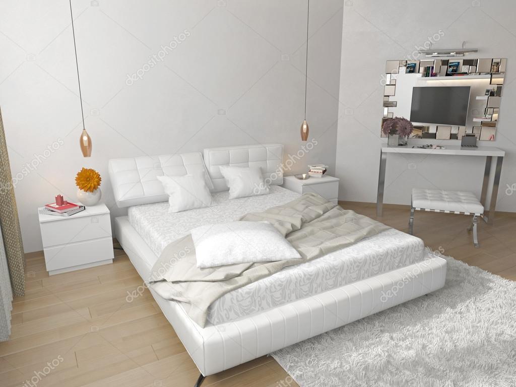 Sypialnia Z łóżkiem Biały Zdjęcie Stockowe Sanya253