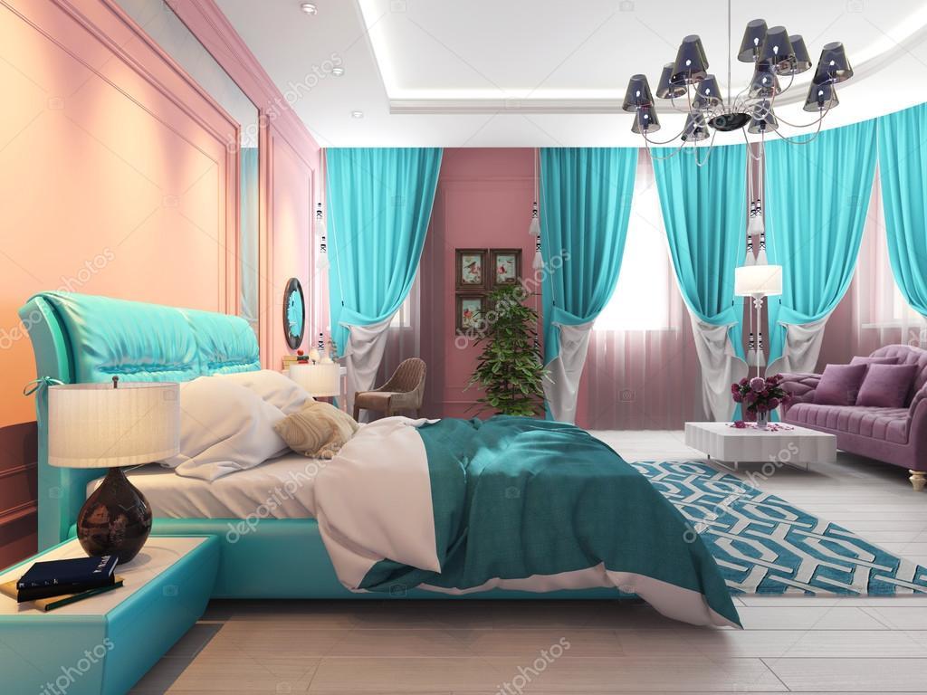 Camera Da Letto Color Rosa : Camera da letto con un letto e un divano tende rosa u foto stock