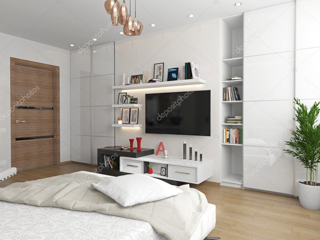 Innenarchitektur Fernseher Für Schlafzimmer Foto Von An Der Wand Des Tv über Tv-regal.