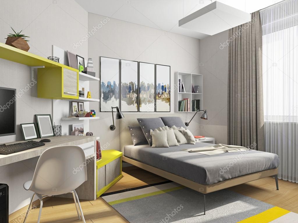 Interieur tiener kamer met een bed en een bureau u stockfoto