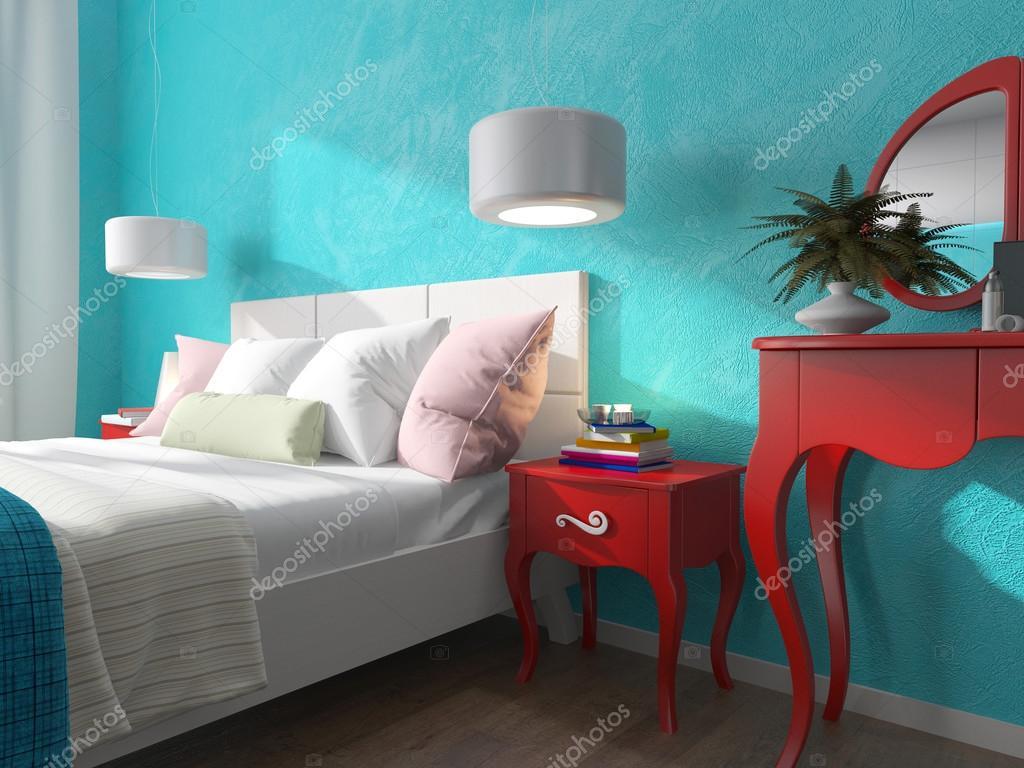 slaapkamer met turquoise muren en nachtkastjes — Stockfoto ...
