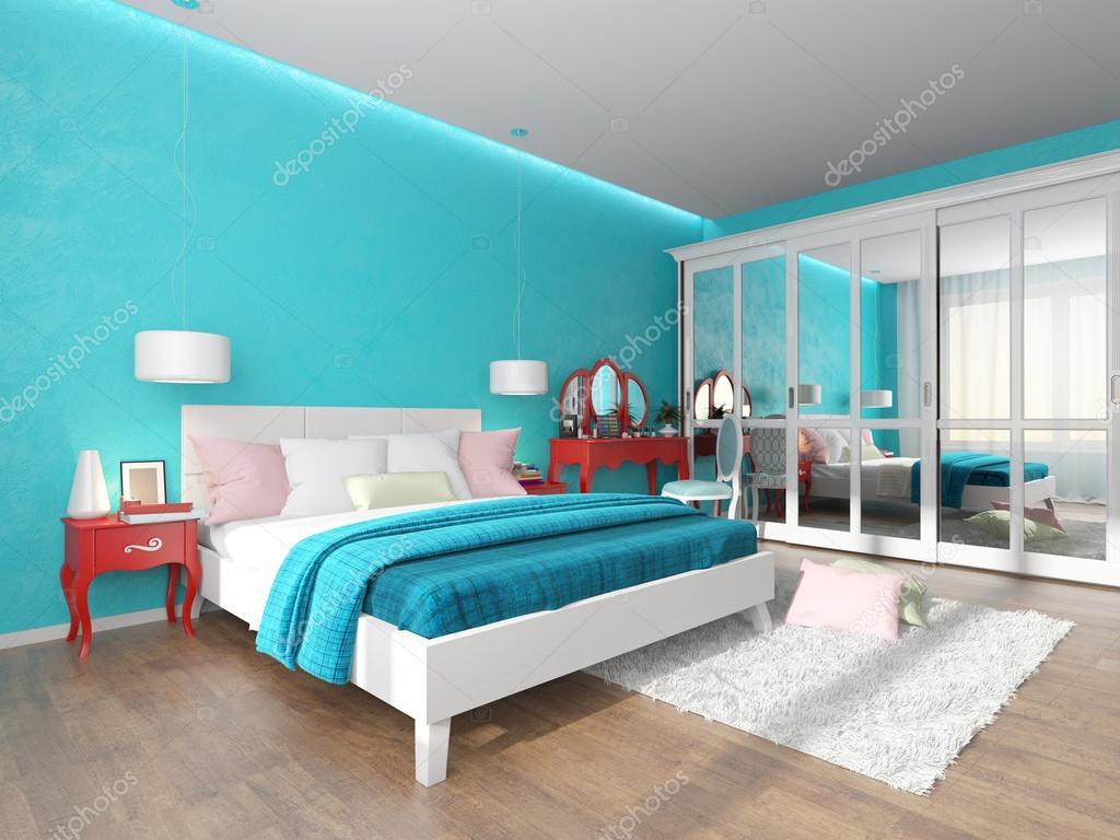 Turquoise slaapkamer met kaptafel en garderobe — Stockfoto ...