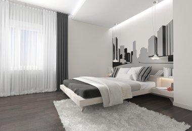 Modern bedroom interior with dark curtains