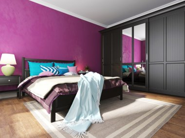 Hotel bedroom interior with black furniture