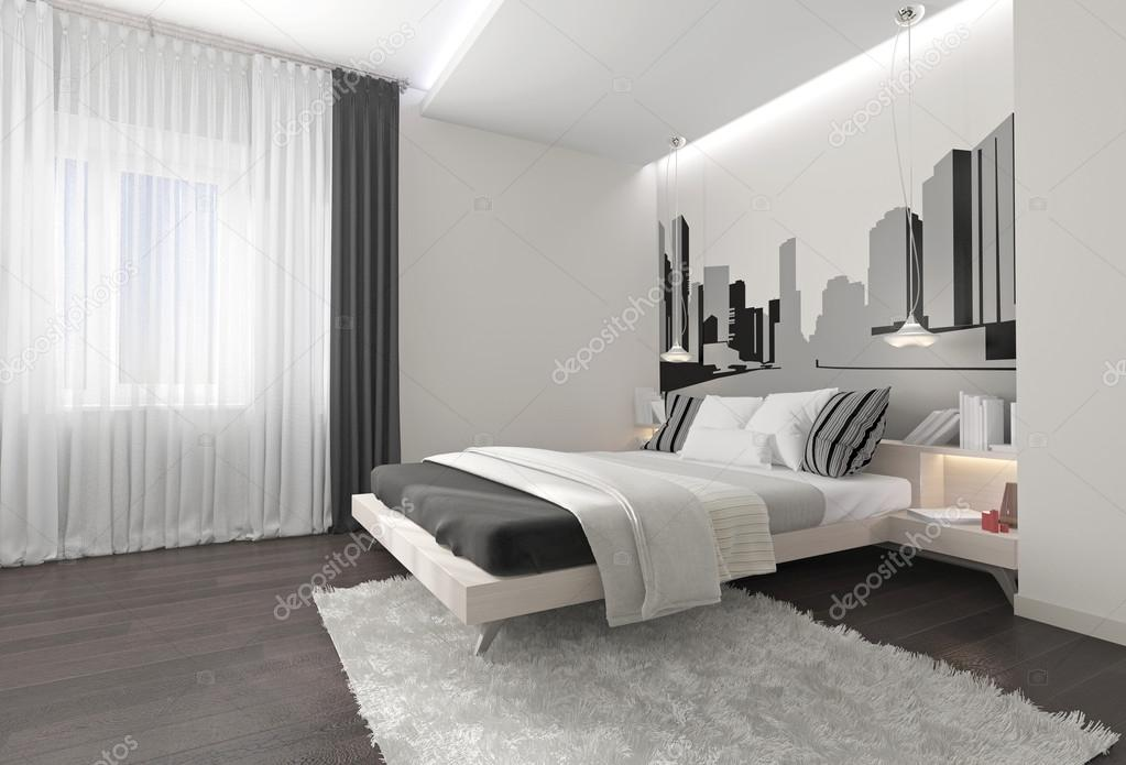 Moderne slaapkamer interieur met donkere gordijnen u stockfoto