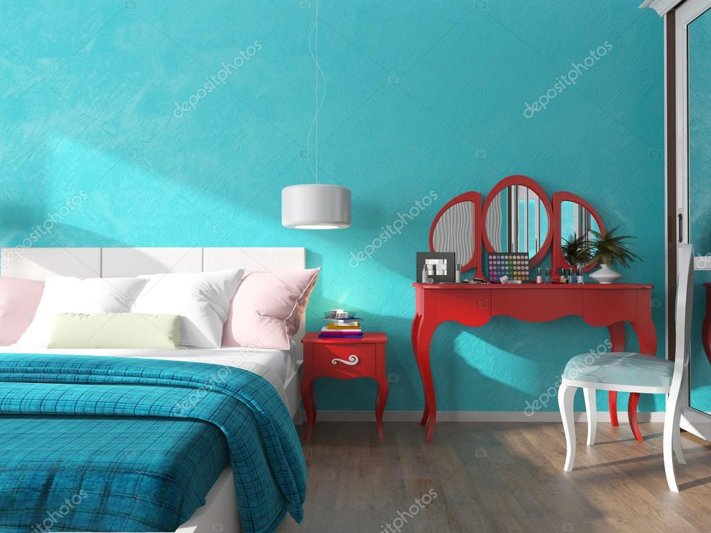 Turquoise muur in de slaapkamer — Stockfoto © sanya253 #74612557