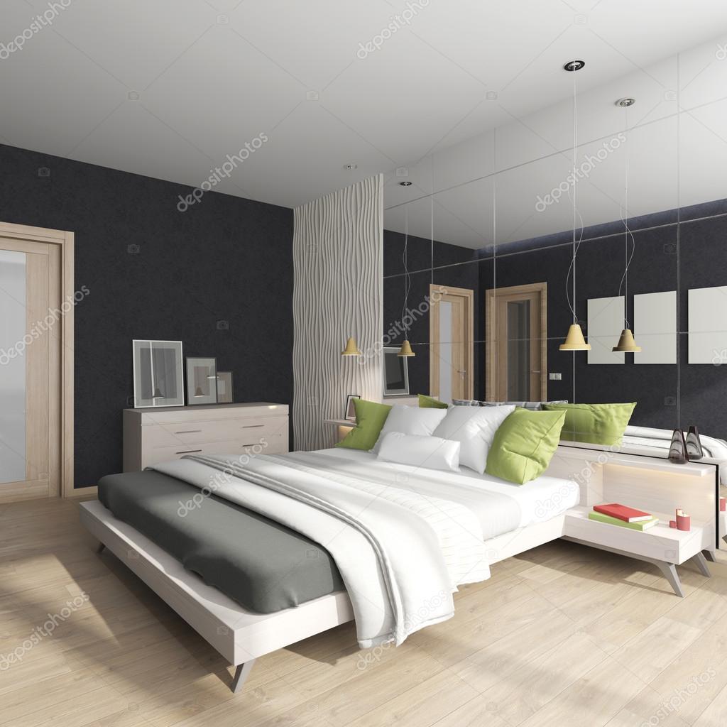 modern belső térrel, egy hálószoba, egy tükör a falon — Stock Fotó ...