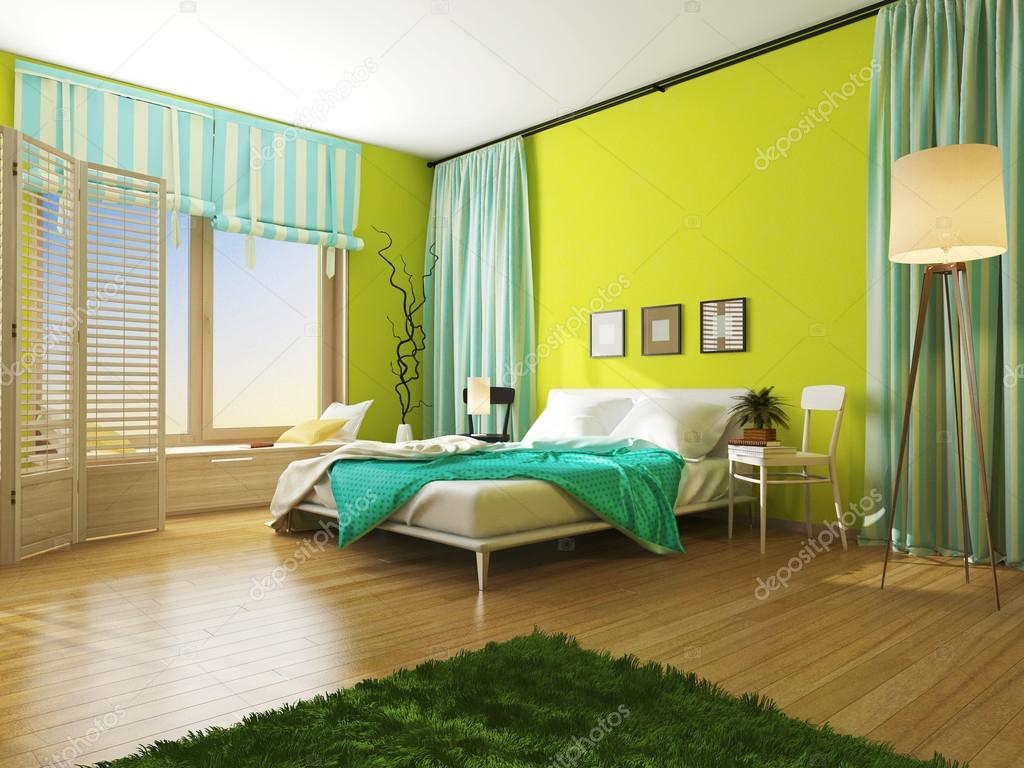 Interior bedroom with a blanket and drapes color turquoise. — Stock ...