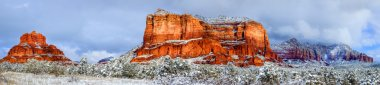 Courthouse Butte and Bell Rock under snow