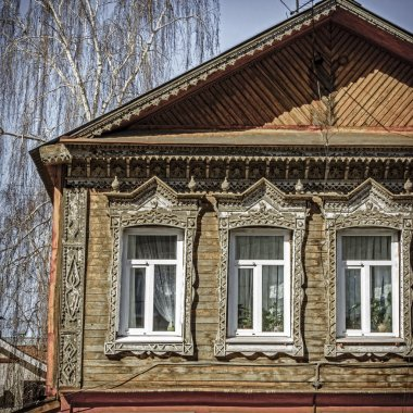 Traditional old Russian house facade